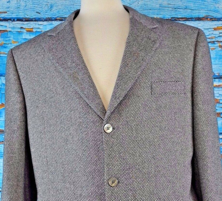 ARI Men's Blazer Size 44 Lgold Piana Cashmere Sport Coat Career Three Button