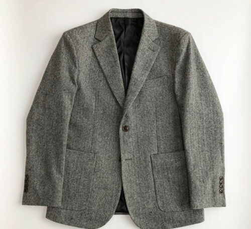 Men/'s Gray Herringbone Suits Pleated Pant Leisure Tuxedos Wool Tailored Fit