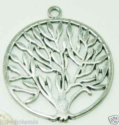 37mm Large Round Silver Tree of Life Pendants,Charms.Jewellery Making,Wholesale