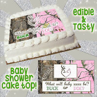 Baby Shower Edible Cake Topper Buck Doe Heart Browning Camouflage Gender Reveal