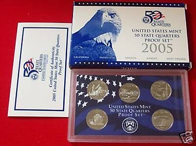 2005 S CLAD PROOF QUARTER SET WITH BOX & COA