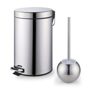 Stainless steel step trash bin toilet brush set bathroom for Bathroom bin set