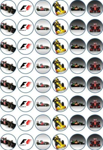 48 x 3 CM FORMULA 1 EDIBLE RICE//WAFER PAPER CUPCAKE//FAIRY CAKE TOPPERS