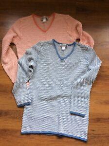 2 Femme Jumpers Taille 12 Bleu Orange Valeur Formidable