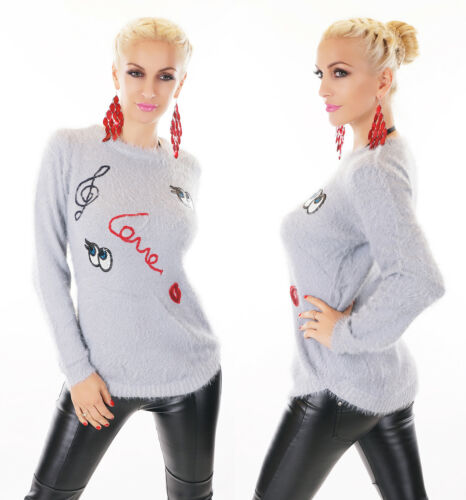 Damen Pullover Sweater FLAUSCH KUSCHEL Pulli Aufnäher Pailletten 36 38
