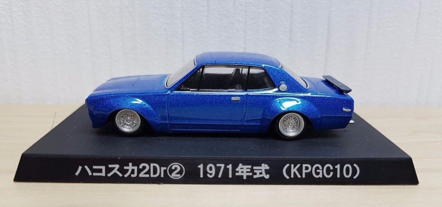 1 64 Aoshima Grachan 6 1971 NISSAN SKYLINE HAKOSUKA 2DR KPGC10 blueE diecast car