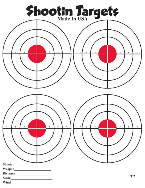 50 4 up red bullseye paper shooting targets for hand gun and rifle
