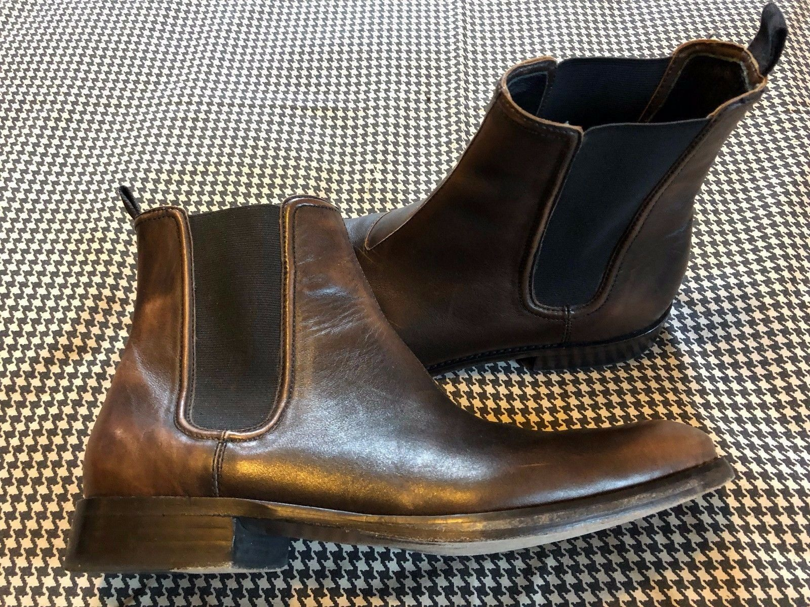 ✮ John Varvatos Luxe Chelsea Boots [11.5 Distressed Brown Leather Shoes F2619Q3]