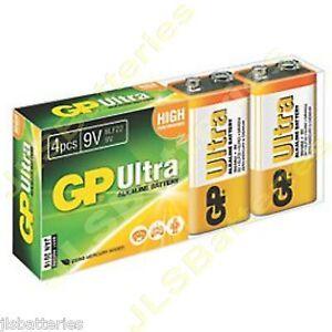 4 x gp ultra 9v batteries mn1604 6lr61 pp3 block 6lf22 alkaline ebay. Black Bedroom Furniture Sets. Home Design Ideas