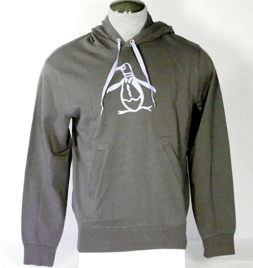 Penguin Logo grau Pullover Hooded Sweatshirt Hoodie NWT