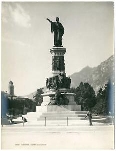 Italie-Trente-Trient-le-monument-a-Dante-Vintage-print-Photomecanique-2