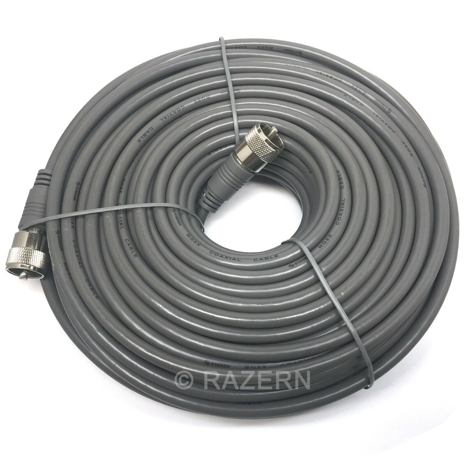 Steren 100 ft Gray RG8X Mini-8 Coax Coaxial PL259 UHF Ham CB Radio Antenna Cable. Available Now for 49.95