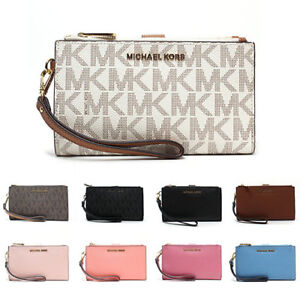 fad951db3ae24 New Michael Kors MK Jet Set Travel Double Zip Phone Wristlet Wallet ...