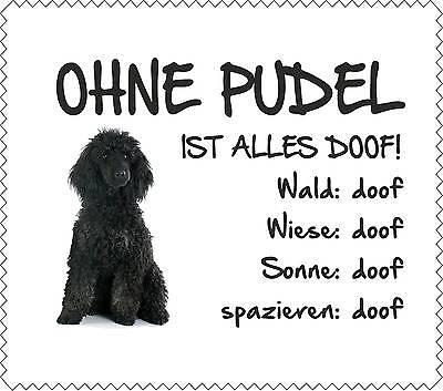 """Türschilder Displaytuch Schwarzer Pudel """"alles Doof"""" Brillenputztuch Hund Neu Gt0042 100% Garantie Haustierbedarf"""