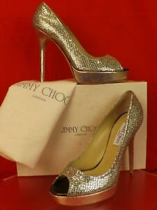 ab4b67371e71 Image is loading NIB-JIMMY-CHOO-CROWN-CHAMPAGNE-GLITTER-FABRIC-PEEP-