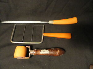 Butterscotch-Bakelite-3-Utensils-Cake-Cutter-Sharpening-Steel-Sealing-Roller