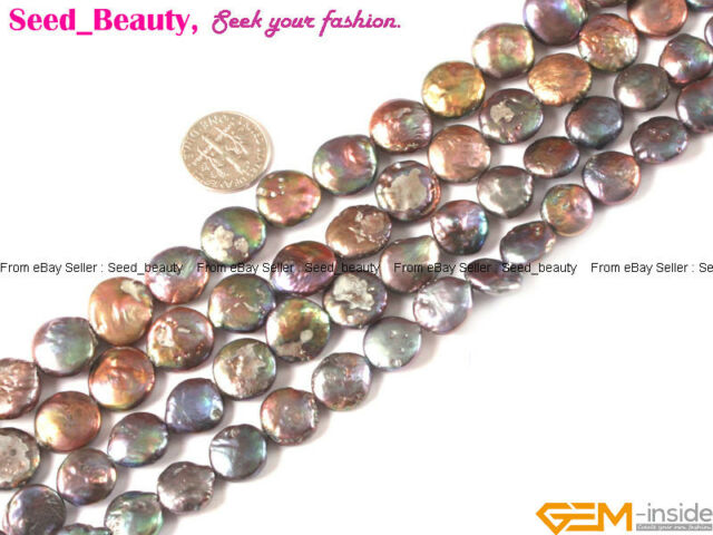 "Coin White Black Pink Grey Fresh Water Pearl Gemstone Loose Beads 15"" 12/14/16mm"