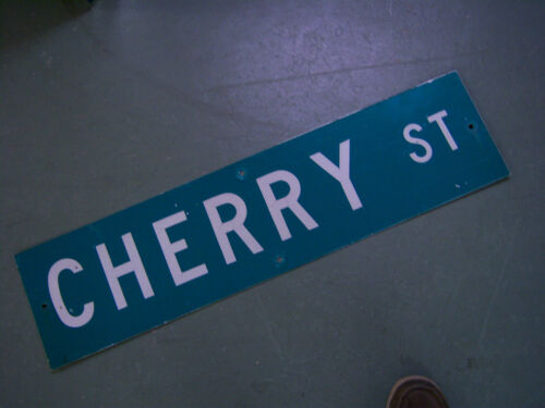 "Vintage ORIGINAL CHERRY ST STREET SIGN 36/"" X 9/"" WHITE LETTERING ON GREEN"