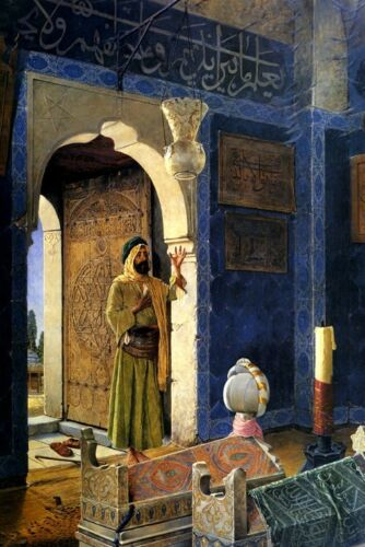 OLD MAN IN FRONT OF A CHILD/'S TOMB ARAB PAINTING BY OSMAN HAMDY BEY WEEKS REPRO