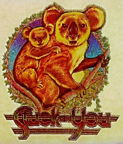 Original Vintage Stuck on You Koala Bear And Baby Iron On Transfer