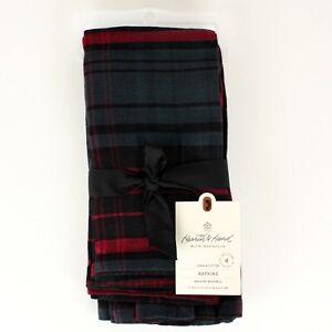 Hearth-and-Hand-Magnolia-Set-of-4-Napkins-Red-Blue-Black-Plaid-Linen-Cotton