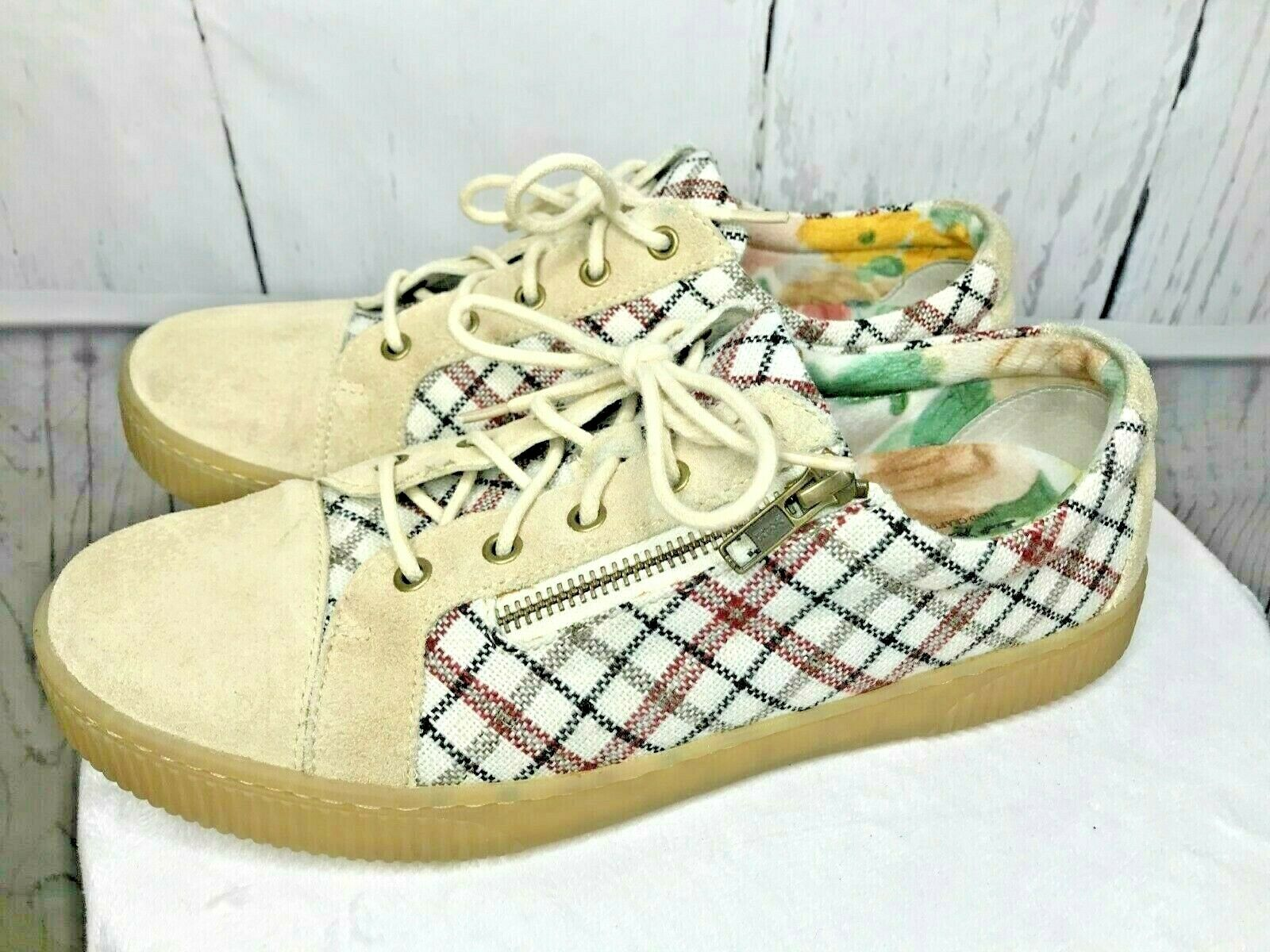 Born Tamara Plaid Sneakers Women's Size 9.5 Lace and Zip Red Blue White