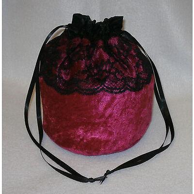 "Crushed Velvet & 3"" Lace Dolly Evening Handbag / Purse Wedding Bridesmaid Bag"