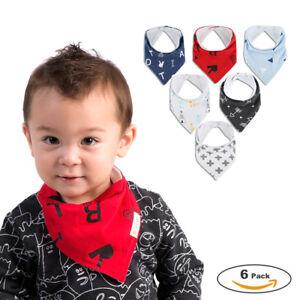 Baby-Infant-Boy-Maedchen-Bandana-Laetzchen-Feeding-Speichel-Handtuch-Laetzchen-Dreieck-Bib-6pcs