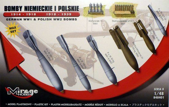 Mirage Hobby 848401 - 1:48 German WWI & Polish WWII Bombs Max Set