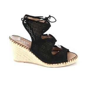 NEW Franco Sarto 8 Nash Sandals Black Wedge Heel Espadrille Suede Perforated