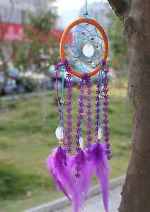 Shells Dreamcatcher with Purple Flower Feather Craft Hanging Decoration Gift