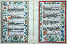 STUNDENBUCH DOPPELBLATT PERGAMENT GEDRUCKT PRACHT BORDÜRE BLUMEN TIERE TORY 1527