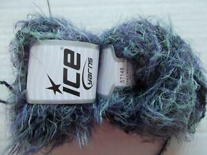 Eyelash Blend sparkly yarn by Ice Yarns lot of 2 110 yds ea black//lilac