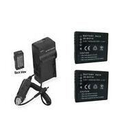 Two Batteries + Charger For Panasonic Dmcfh1a Dmcfh1d Dmc-fh1k Dmc-fh1p Dmc-fh1s