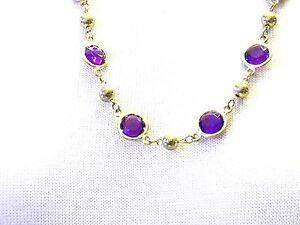 Vintage-Purple-Lucite-Gold-tone-Bead-Necklace
