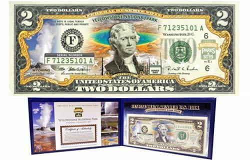 YELLOWSTONE COLORIZED United States $2 Bill Honoring America/'s National Parks