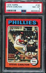 1975-Topps-Baseball-185-STEVE-CARLTON-Philadelphia-Phillies-PSA-8-NM-MT