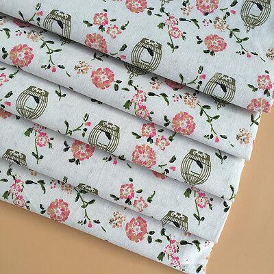 50x150cm Cotton Linen Fabric ZAKKA DIY Bags Curtain Home Deco Flower Bird Cage B