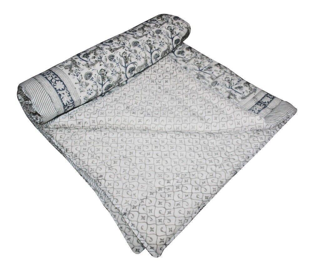 Vintage Indian Hand Block Handmade Kantha Quilt Blanket- Twin Queen King Throw