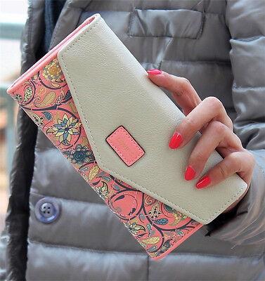 Hot Women Leather Wallet Envelope Purse Card Holder Mobile Bag long zip Handbag