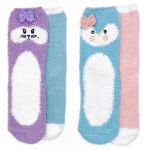 4-pk-Girls-Kids-Soft-Comfy-Non-Slip-Warm-Novelty-Animal-Face-Slipper-Socks-SK377
