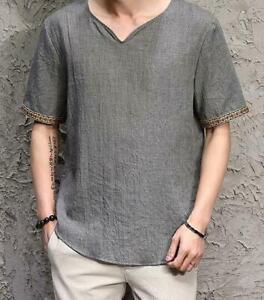 Men-Cotton-Linen-Blend-Slim-Short-Sleeve-Casual-Down-Shirt-Vintage-Chinese-Tops