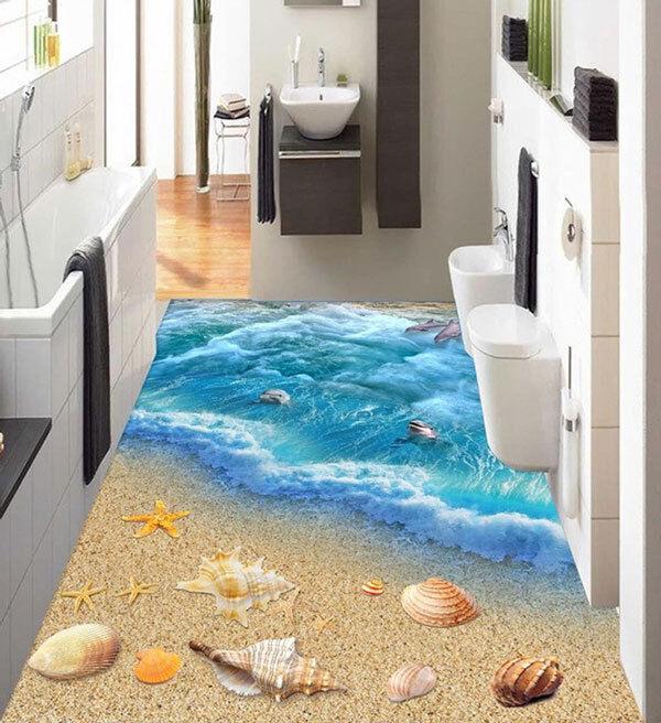 3D Seashell Dolphin Sea Wave Floor Mural Photo Flooring Wallpaper Home Wall Deca