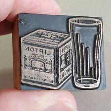 Vintage Copper Amp Wood Letterpress Print Block Stamp Lipton Tea Amp Glass Pb28