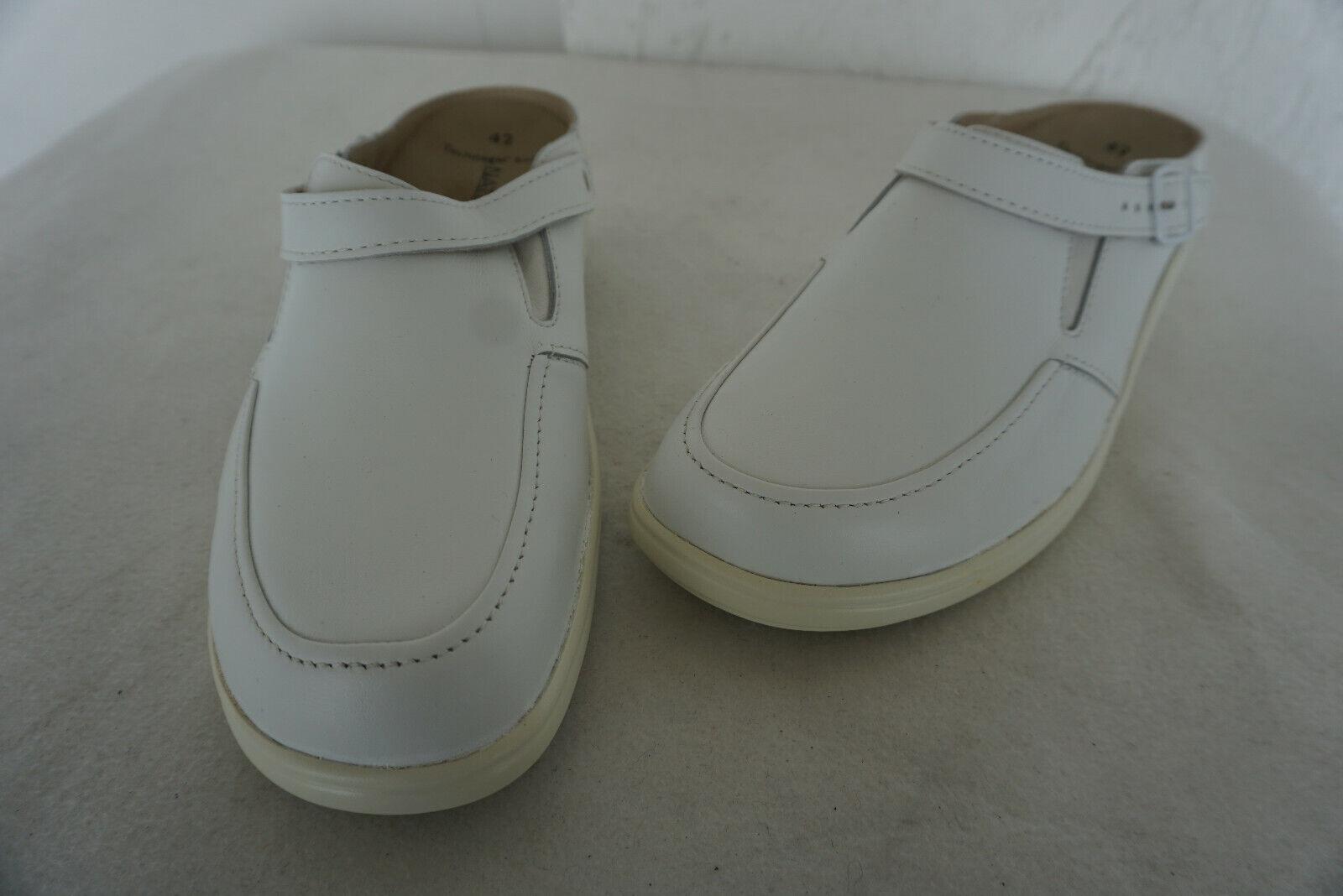 Orthopädisch Natural Feet Femmes Sandale Chaussure Clog pratique Taille 42 H en cuir blanc NEUF