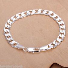 Men 925 Sterling Silver Plated Diamond Cut Curb 8mm Bracelet Chain Unisex Gift