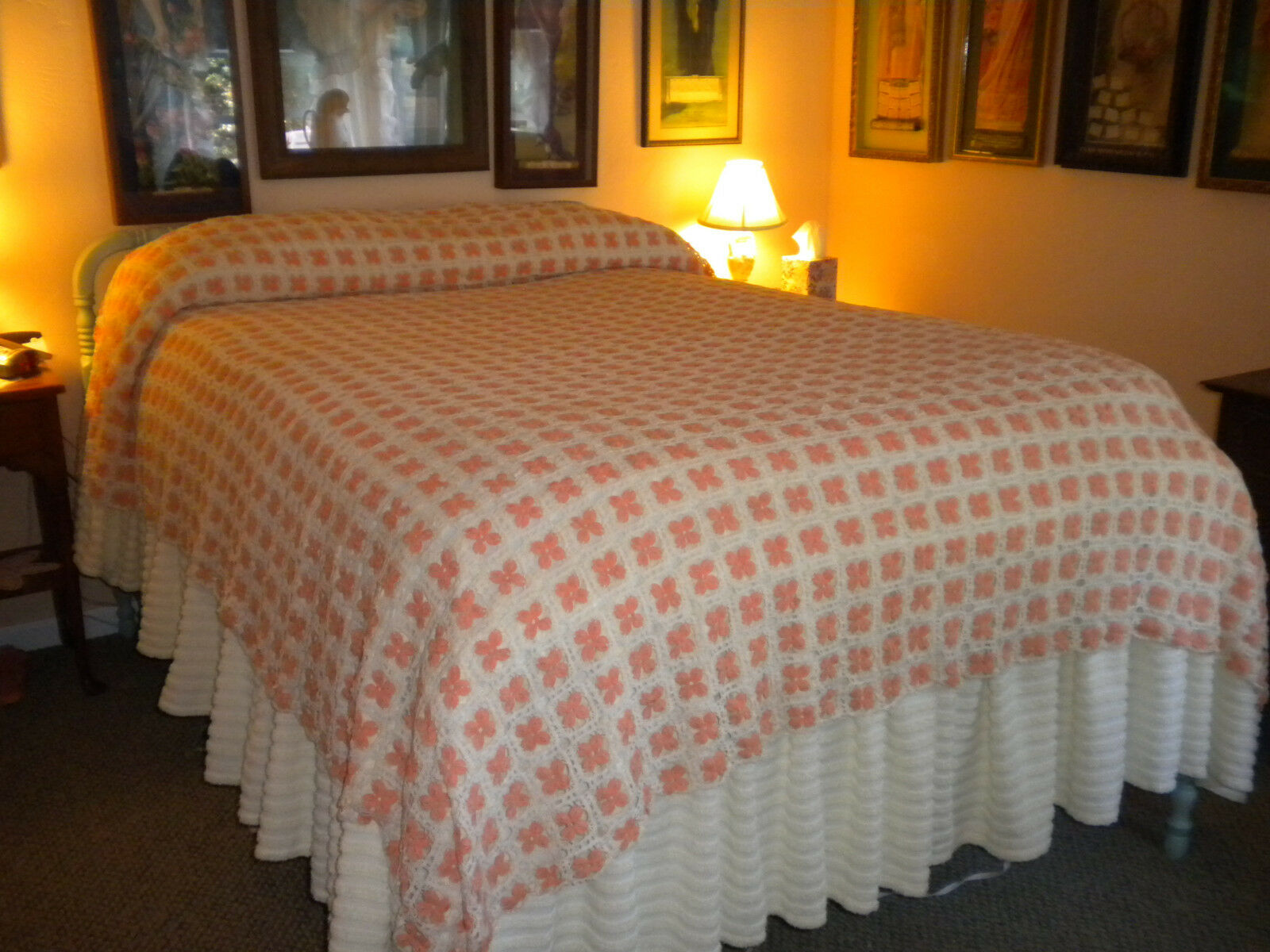 Romantic 82x98  Vintage Hand Crocheted Bed Topper Coverlet Tablecover Tangerine