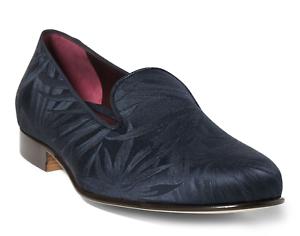 Ralph Lauren Purple Label Collis Navy Silk Palm Jacquard Slipper Loafer