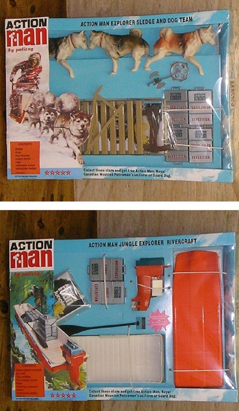 VINTAGE ACTION MAN 40th CARDED BOXED EXPLORER RIVER CRAFT + SLEDGE & DOG TEAM