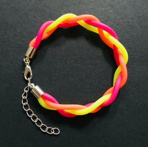 yellow pink disco green Silver and Neon coloured bracelet 80/'s retro